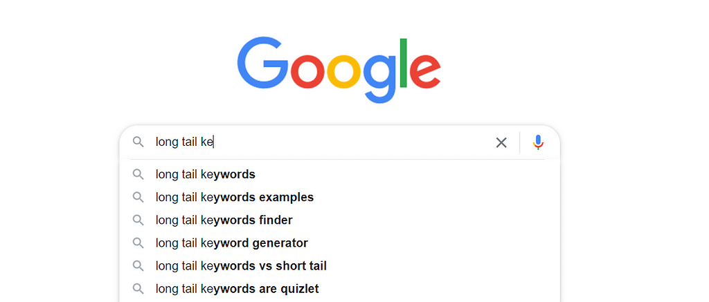 Google Suggestions of long tail keywords